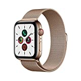 Apple Watch Series 5 (GPS + Cellular, 44 mm) Cassa in Acciaio Inossidabile Oro e Loop in Maglia Milanese - O