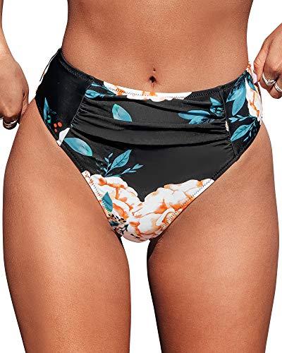 CUPSHE Women's Bikini Bottom Floral Print Mid Rise Bathing Suit, L