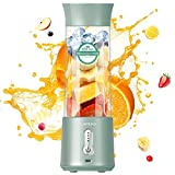Lahuko Portable Blender Pro 2021 Travel Blender 17Oz Large Capacity, USB Type-C Rechargeable with Six Blades and 4000mAh Battery, Easy Clean for Home Kitchen Sports Travel Outdoor - Arctic Green