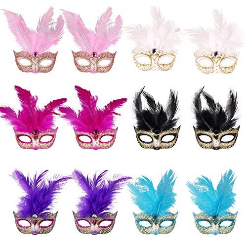 12pcs Set Mini Masqurade Masks,Small Mardi Gras Mask Halloween Novelty Gifts Party Decoration.