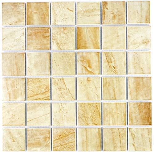 Mosaikfliese Natursteinoptik Struktur Travertin beige gelb Wandfliese MOS16-1202