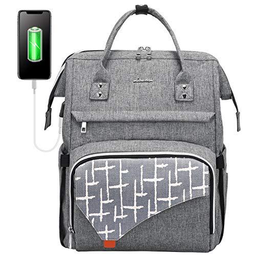 LOVEVOOK Laptop Rucksack 15,6 Zoll, stylischer Rucksack Damen wasserdichte, Schulrucksack mit Laptopfach und Anti-Diebstahl Tasche, für Uni Schule Reisen Arbeit, Grau