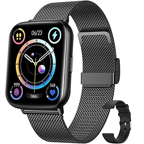 Hommie Smartwatch Uomo,Orologio Fitness Uomo Full Touch 1,69 Pollici,Cardiofrequenzimetro da Polso Pressione Sanguigna Contapassi Calorie Notifiche Messaggi Smart Watch IP68 per Android iOS