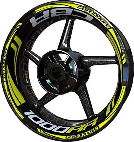 Motocicleta Moto Llanta Inner Rim Tape Decal Pegatinas F2 para Honda CBR 1000 RR CBR1000RR 1000RR (Plata/Limón)