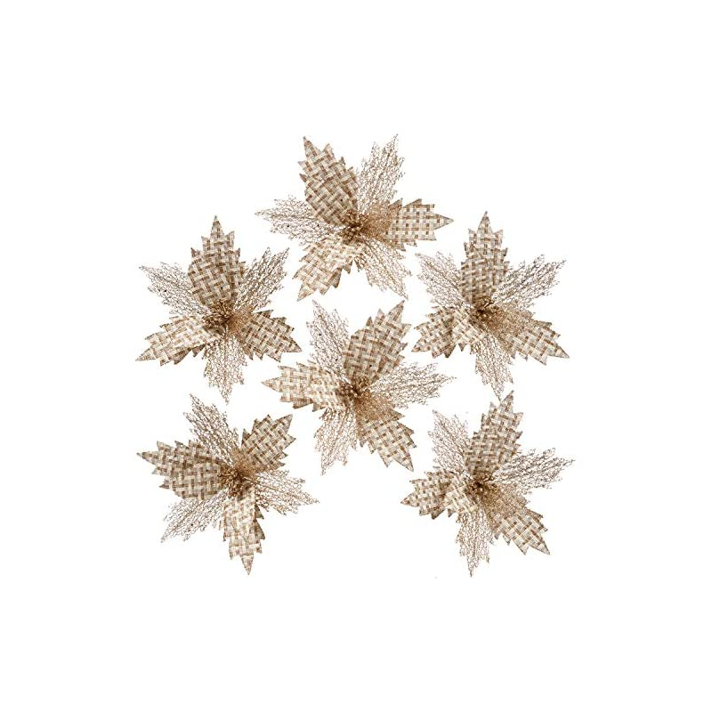 silk flower arrangements sea team 6-pack artificial glitter poinsettia christmas flower ornaments tree decorations