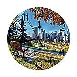 Reloj de Pared Redondo Decorativo, Banco del Parque con Vistas al Horizonte de Calgary Alberta Durante el otoño Tranquilo Urbano