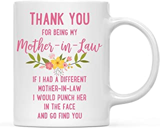 Andaz Press Funny Family 11oz. Coffee Mug Gift, Thank You for Being My Mother-in-Law, Punch in Face, 1-Pack, Christmas Birthday Drinking Cup Present Ideas