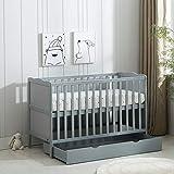 <span class='highlight'>MCC</span> Grey Wooden Baby Cot Bed & Drawer & Aloe Vera Water Repellent Mattress (Orlando)…