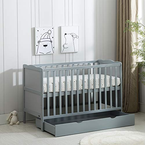 MCC Grey Wooden Baby Cot Bed & Drawer & Aloe Vera Water Repellent Mattress...