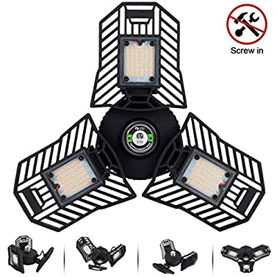 Tanbaby Deformable LED Garage Lights, 3 Leaf Ga...