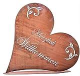 Rostikal | Deko Herz Rost mit Herzlich Willkommen | Metall Garten Türschild und Tischdeko | 32 x 30 x 10 cm (Premium)