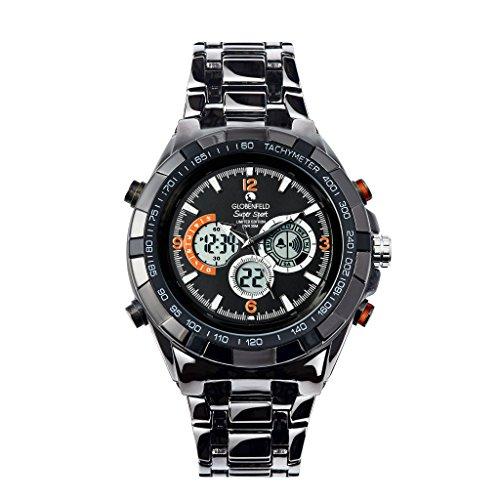 Globenfeld - Super Sport - Reloj de pulsera con 3 subdiales - Modo analógico y digital - Cronómetro y taquímetro - Gris metálico Resistente