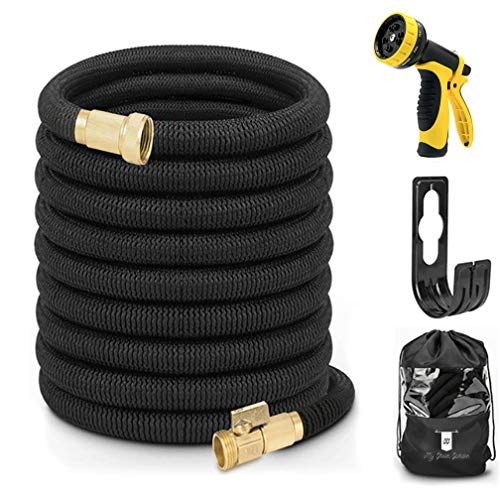 My Green Garden 50ft Black Expandable Garden Hose: Flexible Water Hose with 10 Function Spray Nozzle and Hose Storage Bag, Heavy Duty Hose with Solid Brass Fittings, Premium Quality, Save Water