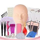 Lash Extension Kit, Lash Kit with Mannequin Head, False Eyelash Extension Practice Exercise Kit, Lip Makeup Eyelash Grafting Training Tool Kit for Professionals & Beginners (16 pcs)