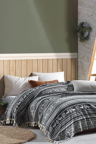 BOHORIA® Colcha Premium Nordic 200 x 240 cm – Manta reversible para el sofá con diseño navideño | Extra grande (200 x 240 cm, obsidiana de ciervo)
