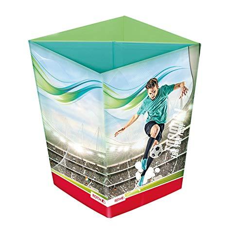 ROTH Papierkorb - Fußball-Star, Faltbarer Sport Papierkorb mit Trennsystem aus Pappe fürs Kinderzimmer