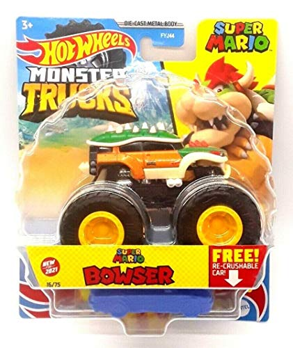 DieCast Hotwheels Monster Trucks Super Mario [Bowser] 16/75 with recrushable car, 1:64 Scale