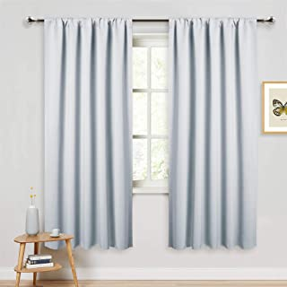 PONY DANCE White Thermal Curtains - Room Darkening Window Treatments Drapes Home Decor Rod Pocket Curtain Panels & Draperies for Kitchen Living Room, 52 x 72 inches, Greyish White, 2 Pieces