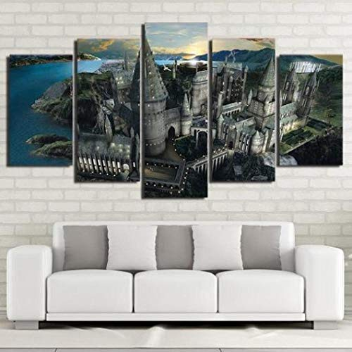 YQRX 5 Piece Modern Hd Stretched And Framed Canvas Wall Art Paintings Ready To Hang For Living Room Bedroom Home Decorations Harry Potter Hogwarts Castle 2 Movie/Frame/150x80CM