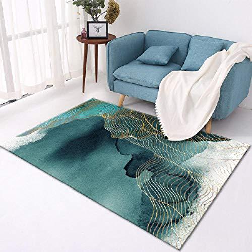 Teppich Modern Designer Teppiche Hellblaue Spritztinte Goldlinie Schlafzimmer Zimmer Teppich Sofa Tisch Kind Krabbeln Matte 150x200CM (4ft92''x6ft6)