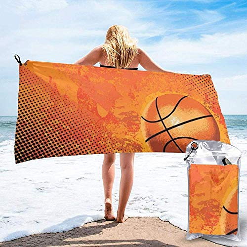 Quick Dry Beach Towel Basketball Printed Microfiber Lightweight Bath Towels Suitable For Household Children And Adults Camping Swimming Yoga-27.5'X55'