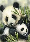 Cuadro Yeesam Art para rellenar con piedras brillantes, producto para hacer tú mismo, de 5D, con la imagen de una mamá panda con su bebé, de 30cm x 30 cmy con un bordado de punto de cruz numerado