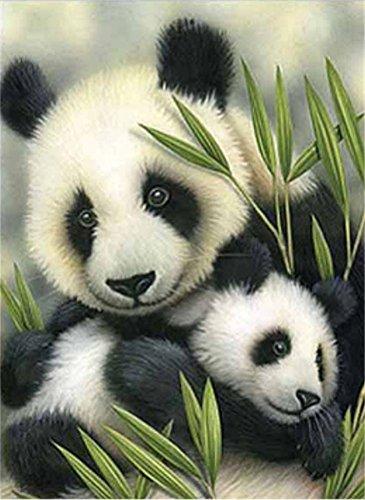 Yeesam Art 5D-Diamanten-Malset,Motiv Pandamutter mit Babypanda, 30 x 30 cm,Strassstein-Gemälde zum Selbstgestalten, Malen nach Zahlen, Kreuzstich-Stickerei