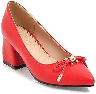 BalaMasa Womens Dance-Ballroom Bows Urethane Pumps Shoes APL10578