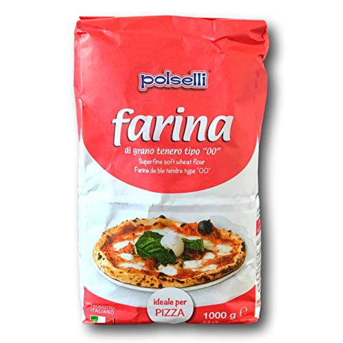 00 Pizza Flour Ideale per Pizza | All Natural | Italian Flour (Farina) for baking, pizza, bread | Non GMO - Unbleached - UnBromated - No Additives | 1 kg (2.2 lbs) by POLSELLI