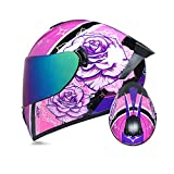 TRIPERSON Full Face Motorcycle Helmet DOT Approved Motorbike Moped Street Bike Racing Crash Helmet, Men and Women (Rose Color Mirror, Small)