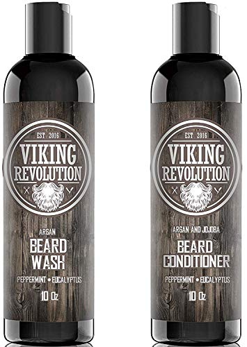 Viking Revolution Beard Wash & Beard Conditioner Set w/Argan & Jojoba Oils – Softens, Smooths & Strengthens Beard Growth - Natural Peppermint and Eucalyptus Scent - Beard Shampoo w/Beard Oil (10 oz)