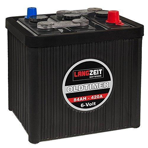 LANGZEIT Oldtimer Batterie 6V 84Ah Autobatterie Starterbatterie 6-Volt 08411