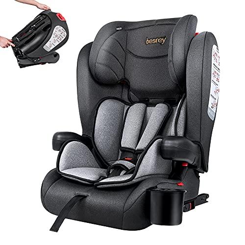 Besrey Kindersitz Kinderautositz mit Isofix - Kinder Autositz Gruppe 1/2/3 - Reise Tragbar und Faltbarer - Mit abnehmbarer Armlehne und Getränkehalter Gruppe 1 2 3 9-36 kg
