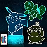 3D Night Light - 3D Illusion Lamp Three Pattern and 16 Color Change Smart Touch Decor Lamp with Remote Control, Valentines Day Gifts for Boys Girls Kids Room Decor