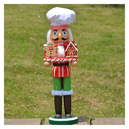 SMchwbc 34cm de Navidad Decoración de Madera Cascanueces Caramelo Cocinero figurita for la Navidad de decoración del hogar Decoración Artesanía de Madera
