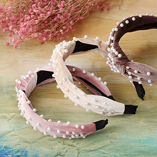 3 Pieces Pearls Headband Wide Hair Hoop Velvet Pearls Headband Vintage Twisted Headwear for Girl Woman Hair Accessories (Beige, Pink, Pale Mauve)