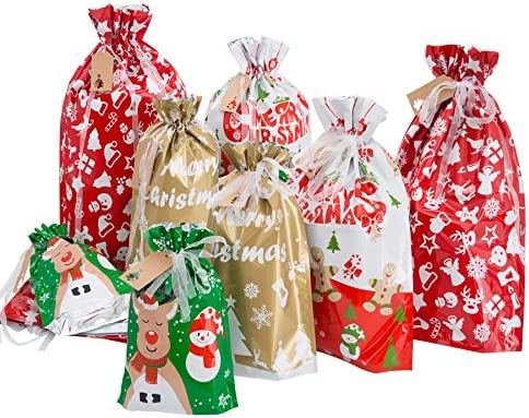 Christmas Drawstring Present Bags Christmas Bags with Tags 24pcs Assorted Sizes Jumbo Large product image
