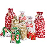 Christmas Drawstring Present Bags, Christmas Bags with Tags, 24pcs Assorted Sizes Jumbo/Large/Medium/Small Present Bags for Christmas Decorations, Large Drawstring Christmas Bags for Present Wrap