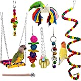 JIAYUE Bird Parrot Toys - 8 Pieces, Parrot Chewing Toys Bird Cage Accessories Perfect Bird Toy Used for Parakeets, Small Parrots, Conures, Macaws, Starlings, Finch