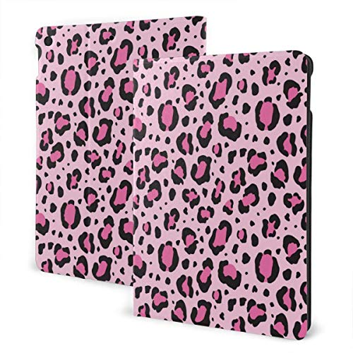 Sexy Hot Pink Leopard Print Pattern Black i-Pad case,for Ipad 7th Generation 10.2 Inch,Premium Leather Folio Stand Cover (Auto Wake/Sleep) IPD-3278