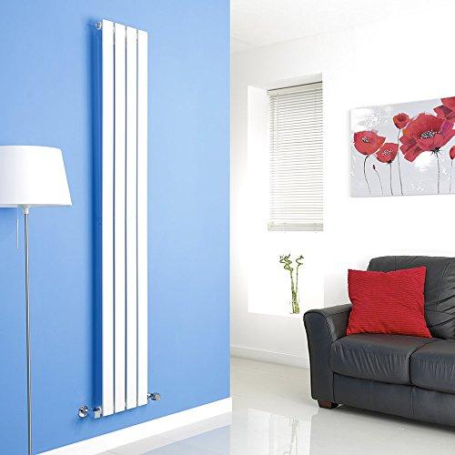 Hudson Reed Radiador de Diseño Moderno Vertical Delta - Radiador con Acabado Blanco - Paneles Planos - 1780 x 280mm - 658W - Calefacción