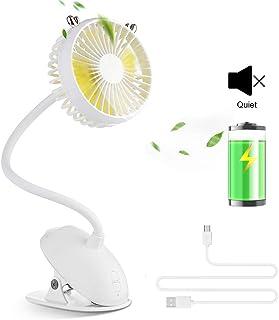 OTraki Mini Ventilador USB, Ventilador Portatil de Mesa con Clip Ventilador Recargable Bateria 2000mAh 3 Modo de Velocidad 360° Ajustable Fan para Carro de Bebe/Hogar/Coche/Oficina/Viaje