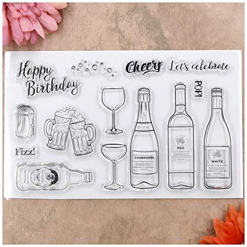 Kwan Crafts Happy Birthday Cheers Stempel für Grußkarten, Dekoration und DIY Scrapbooking