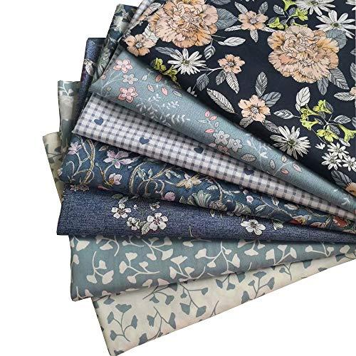 7 Stück 40 x 50 cm verschiedene Muster Patchwork Stoff Handwerk bedruckte Baumwolle Material Gemischte Quadrate Set Quilting Scrapbooking Nähen Kunst DIY Stoff dunkelblau Serie
