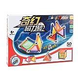 MINGZE 50 Pièces Blocs de Magnétique 3D Jouet ,Jeux de Construction Magnetique Puzzle avec Bâtons Magnétique Colorés ,pour Les Filles et Garçons de Plus de 6 Ans