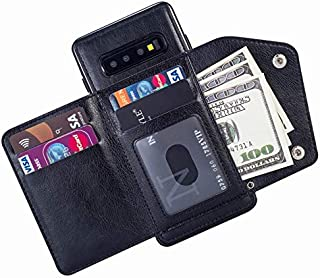 Wallet Case with Card Holder,Leather Kickstand Double Snap Fastener Durable Shockproof Protective Cover for Samsung Galaxy S10 Plus,Black