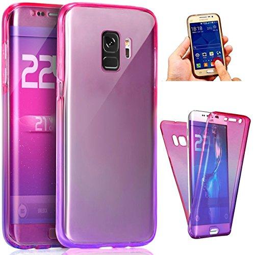 Coque Galaxy S9 Plus Etui,ikasus Intégral 360 Degres avant + arrière Full Body Protection Couleur de dégradé Transparente Silicone Gel TPU Souple Housse Etui Case Coque pour Galaxy S9 Plus,Rose Violet