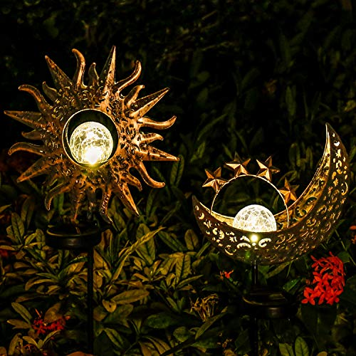 Solar Lights Outdoor Garden Decor,Waterproof Metal Sun Moon Decorative Stakes for Walkway,Yard,Lawn,Patio(2 Pack)