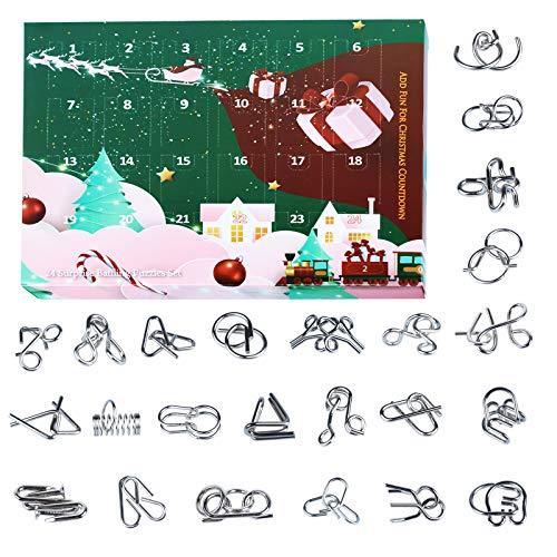 PROTOY Calendario de Adviento de 24 piezas, juego de puzle 3D, puzle Brainteaser, regalo para niños y adultos
