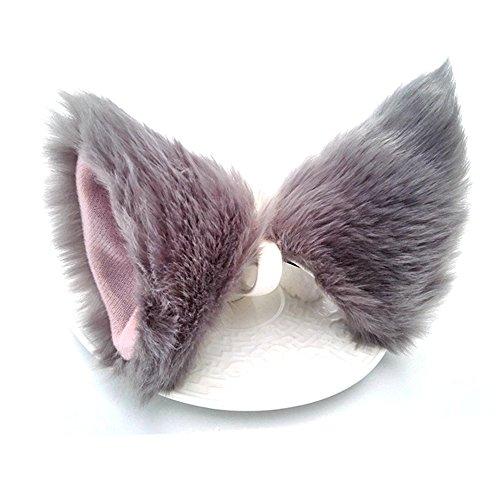 ONECHANCE Orejas de zorro cosplay oreja de gato diadema Catwoman disfraz de Halloween Carnaval (Gris)